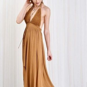 79025ab4f0920 Wishlist Dresses - Boho crochet halter maxi dress slip